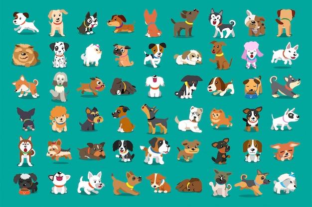 Diversi tipi di cani dei cartoni animati