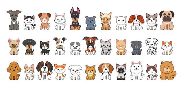 Diversi tipi di cani e gatti dei cartoni animati vettoriali per il design.