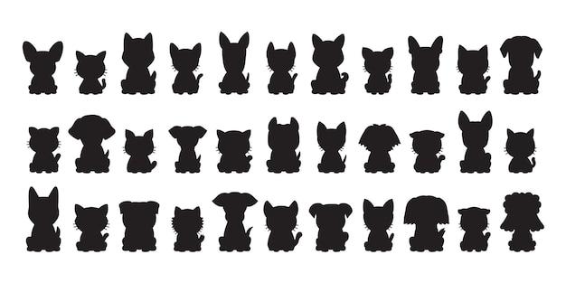 Diversi tipi di gatti e cani silhouette vettoriali per il design.