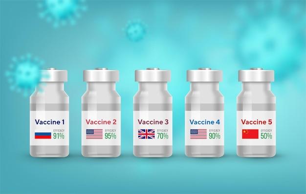 Diversi tipi di flaconi di vaccino antivirus covid.