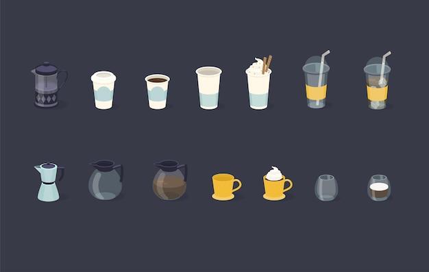 Diversi tipi di caffè in carta e bicchiere di vetro