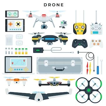 Diversi tipi di droni e relativi strumenti di controllo