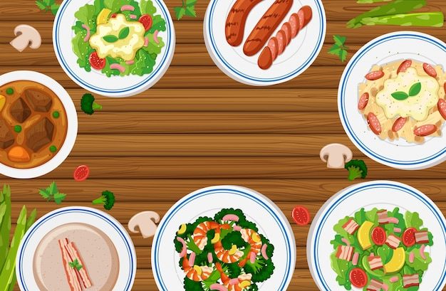 Diversi tipi di cibo sul bordo di legno