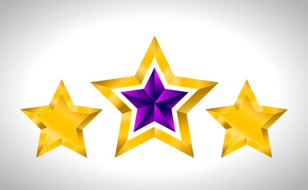 Diversi tipi e forme di stelle d'oro. illustrazione per il design su sfondo bianco