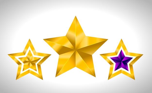 Diversi tipi e forme di stelle d'oro. illustrazione per su sfondo bianco