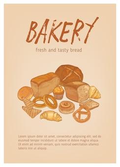 Diversi tipi di pane, pasticceria o prodotti da forno freschi e gustosi Vettore Premium