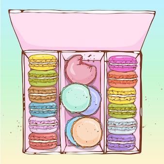 Diversi tipi di macarons nella grande scatola, schizzo disegnato a mano e colore.