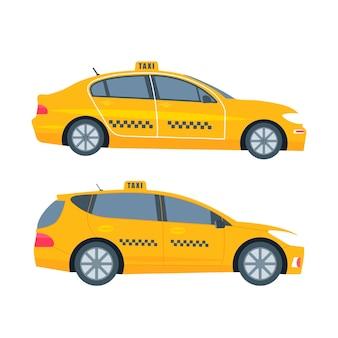 Diversi tipi di macchina cabina gialla isolati su sfondo bianco. concetto di servizio di taxi pubblico. illustrazione vettoriale piatto.