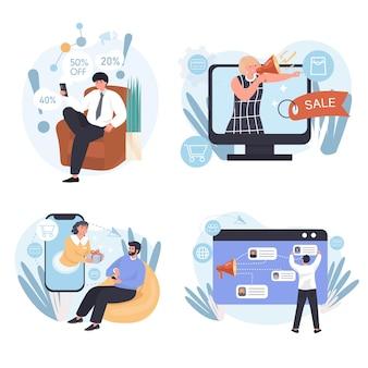 Diversi tipi di scene concettuali di marketing impostate