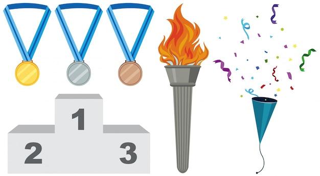 Diversi tipi di medaglie e torcia