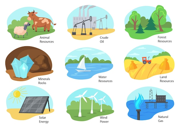 Diversi tipi di illustrazione delle risorse naturali