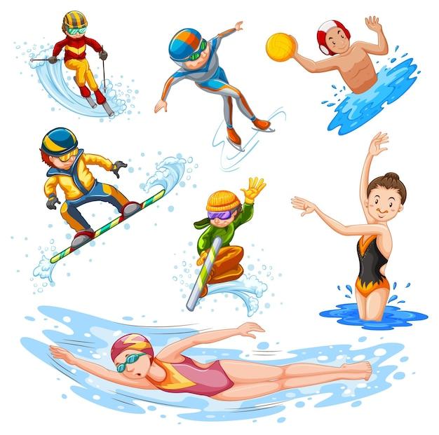 Diversi tipi di sport su sfondo bianco