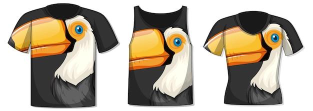 Diversi tipi di top con motivo a uccelli tucano