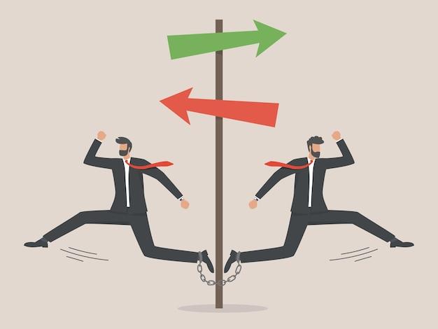 Concetto di business diverso o unico, differenza di direzione verso il successo