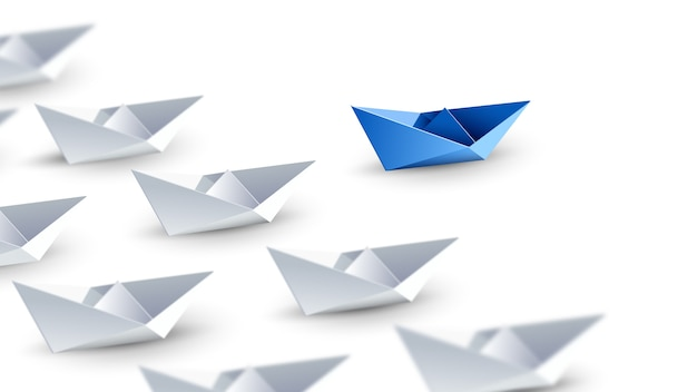 Diverso, unico e in piedi fuori dalla folla barca di carta blu. illustrazione 3d