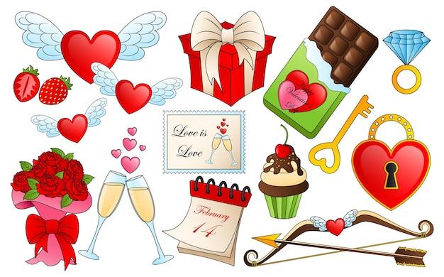 Diversi elementi di san valentino. icone di amore e passione del fumetto, adesivi per la progettazione di oggetti di san valentino
