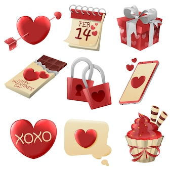 Illustrazione di elementi di san valentino diversi