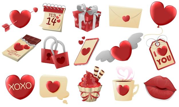 Diversi elementi di san valentino