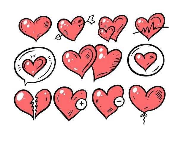 Set di cuori diversi san valentino. mano disegnare stile doodle. Vettore Premium