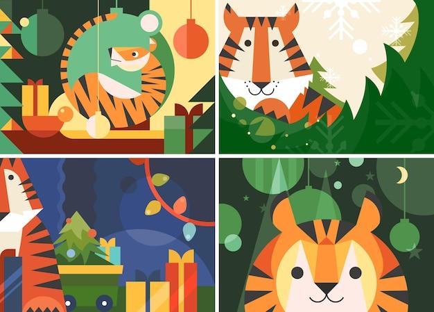 Banner diversi dell'anno della tigre. cartelloni natalizi in stile piatto.