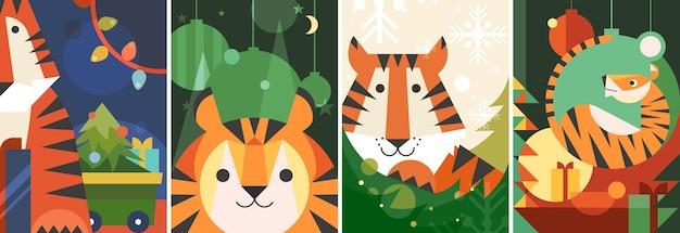 Diversi poster dell'anno della tigre. disegni di cartoline per le vacanze in stile piatto.