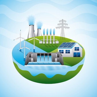 Diverse risorse impianto idroelettrico a pannelli solari