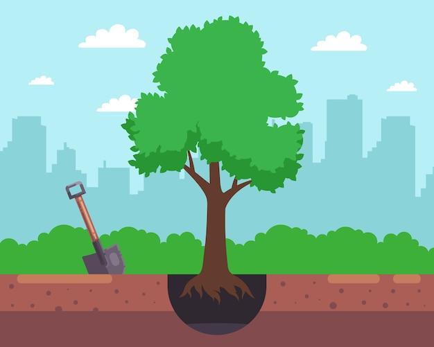 Scavare una buca con una pala e piantare un albero sullo sfondo della città. illustrazione