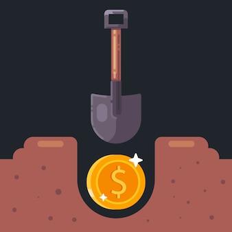 Scavare una vecchia moneta nel terreno. cerca tesori. illustrazione.