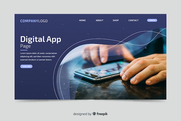 Pagina di destinazione dell'app digitale con foto Vettore Premium