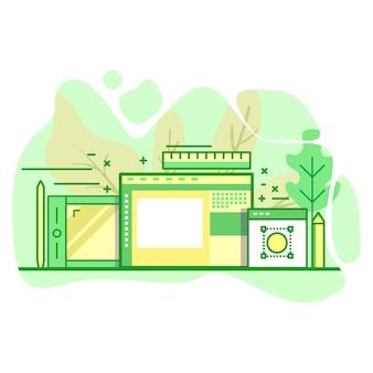 Illustrazione moderna di colore verde piano di arte digitale