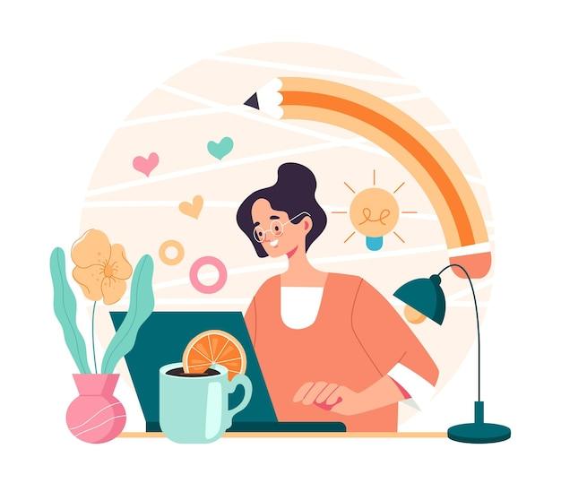 Carattere di operaio donna professionista designer artista digitale seduto al computer e disegno, fumetto illustrazione piatta