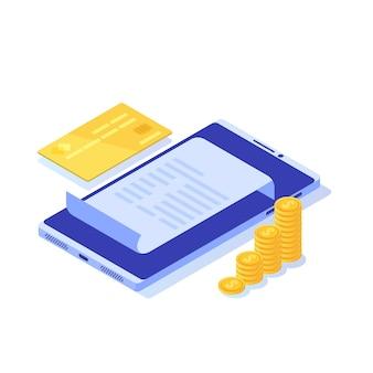 Fattura digitale, ricevuta elettronica o illustrazione della fattura isometrica. acquisti online.