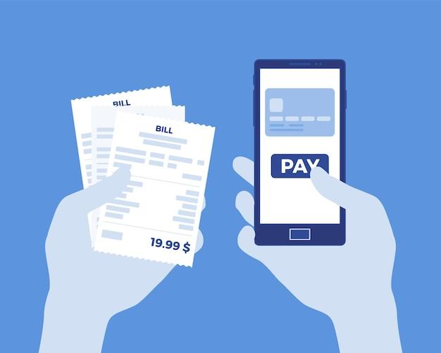 Fattura digitale per il pagamento mobile. consumatore che tiene in mano smartphone e assegno per pagare beni, prodotti, supporto, servizi, contenuti online. processo facile veloce. illustrazione vettoriale