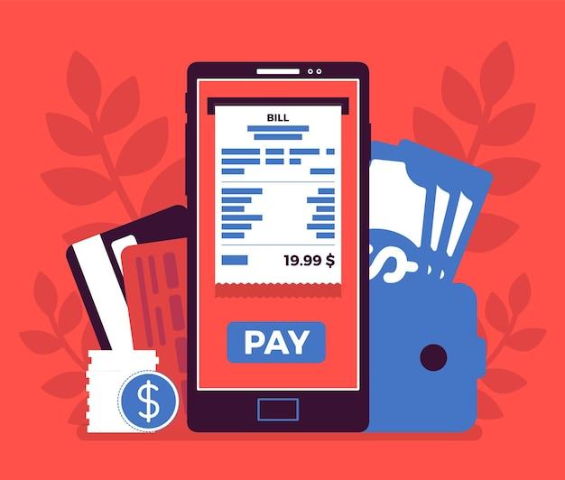 Pagamento mobile della fattura digitale. piattaforma web per effettuare acquisti, transazione effettuata tramite dispositivo smartphone, nuove relazioni banca e cliente, servizio sicuro. illustrazione vettoriale