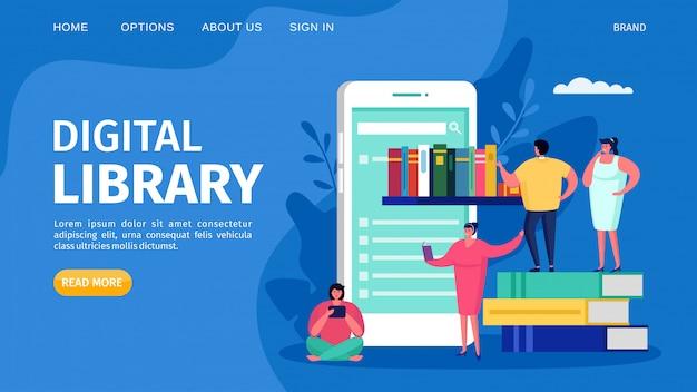 Biblioteca e istruzione del libro di digital online, illustrazione. concetto di studio di tecnologia web, atterraggio di conoscenza di internet. Vettore Premium