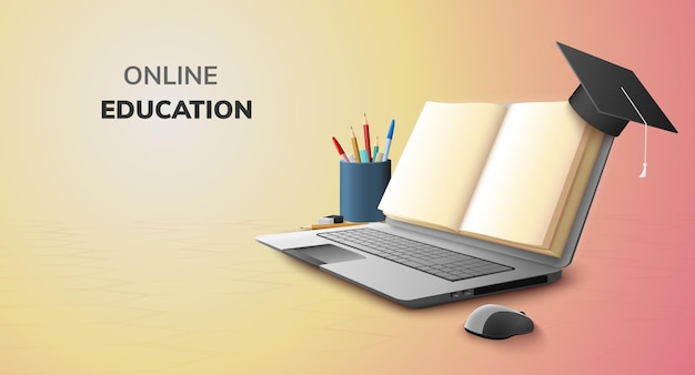 Libro digitale in linea per il concetto di istruzione e uno spazio vuoto sul computer portatile