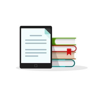 Libreria di libri digitali su e-reader su sfondo bianco