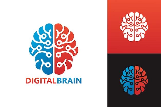 Vettore premium del modello di logo del cervello digitale
