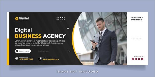 Copertina facebook dell'agenzia di affari digitali e modello di banner post social media aziendale