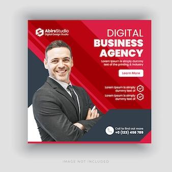Banner di social media agenzia commerciale digitale o modello di volantino quadrato
