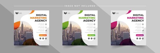 Insieme di modelli di post instagram agenzia di marketing aziendale digitale