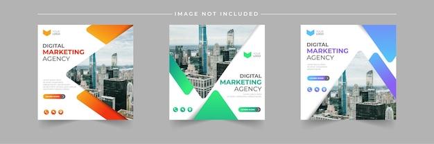 Insieme di modelli di post dell'agenzia di marketing aziendale digitale