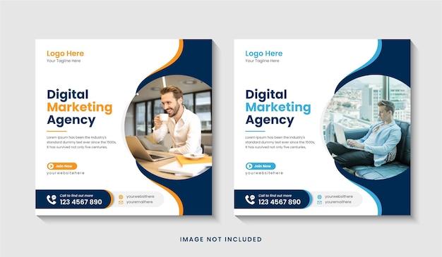 Promozione dell'agenzia di marketing aziendale digitale post instagram o banner web sui social media