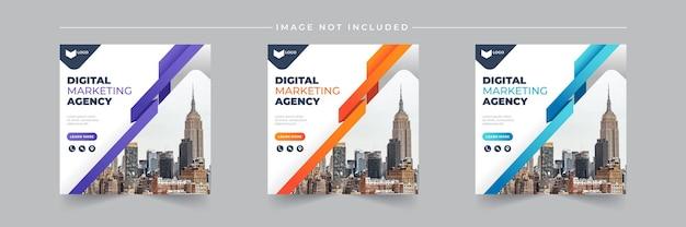 Raccolta di modelli di post sui social media dell'agenzia di marketing aziendale digitale