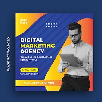 Modello di banner web post di media sociali dell'agenzia di marketing aziendale digitale
