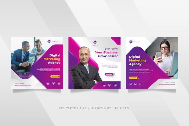 Post di social media e banner web dell'agenzia di marketing aziendale digitale