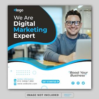 Banner di marketing aziendale digitale per modello di banner post instagram social media o quadrato flyer