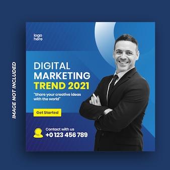 Banner di marketing aziendale digitale per modello di post sui social media