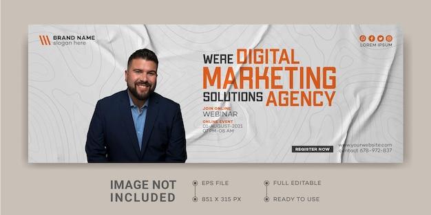 Modello di progettazione della promozione del marketing aziendale digitale copertina di facebook webinar live marketing digitale