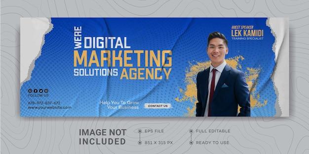 Modello di progettazione della promozione del marketing aziendale digitale copertina di facebook webinar live marketing igital